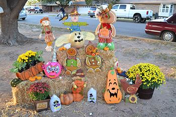 A display of fall and Halloween decorations